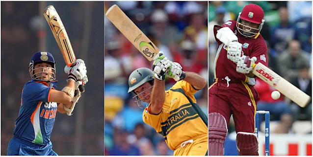 This combo picture shows from LtoR Indian cricketer Sachin Tendulkar in Rajkot on December 15, 2009,Australian cricketer Ricky Ponting in Bridgetown, Barbados on April 28, 2007 and West Indies former captain Brian Lara in Southampton on September 22, 2004. Tendulkar, Ponting and Lara hold the record for the maximun runs on the World Cup with 1796, 1573 and 1225 respectively. AFP PHOTO/ Pal Pillai/Greg Wood/Martyn HAYHOW (Photo credit should read STF/AFP/Getty Images)