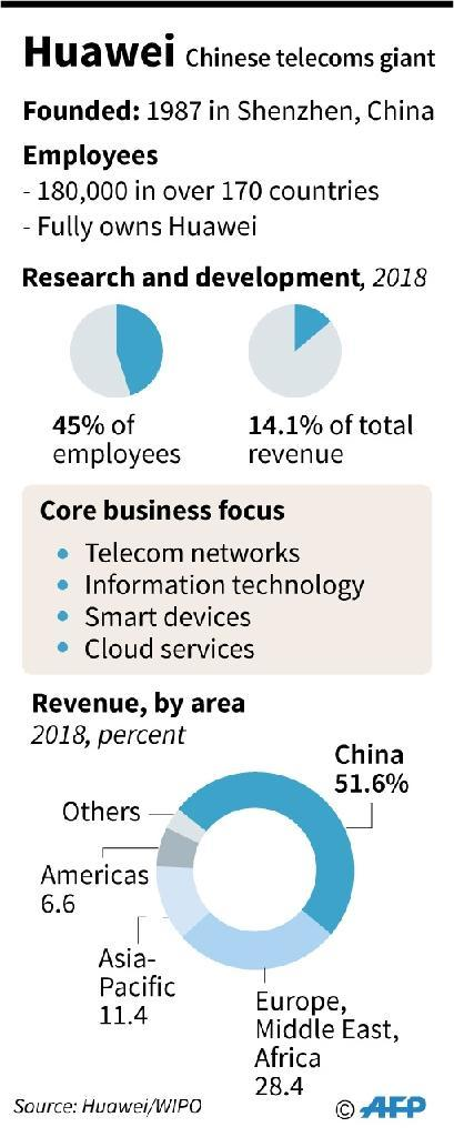 Factfile on China's Huawei, including revenues, core business areas and patent applications. (AFP Photo/Gal ROMA)