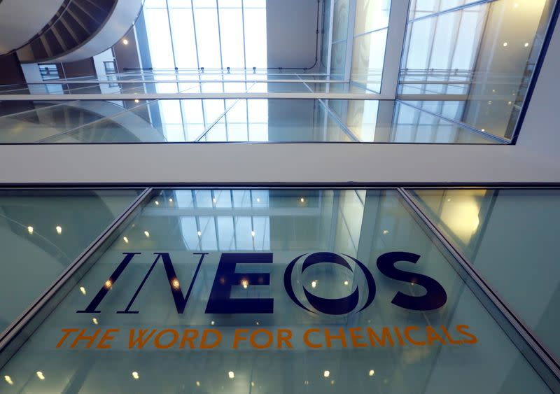 A logo is pictured in the headquarters of INEOS chemicals company in Rolle