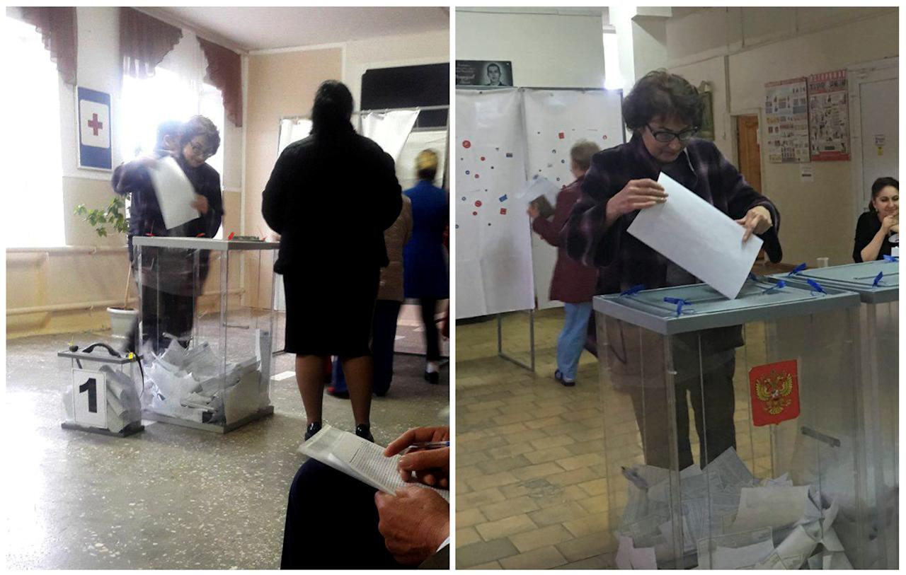 <p>A combination picture shows voter Ludmila Sklyarevskaya, who denied voting multiple times, casting a ballot at a polling station number 215 (L) and casting a ballot at a polling station number 216, during the presidential election in Ust-Djeguta, Russia March 18, 2018. (Reuters staff) </p>
