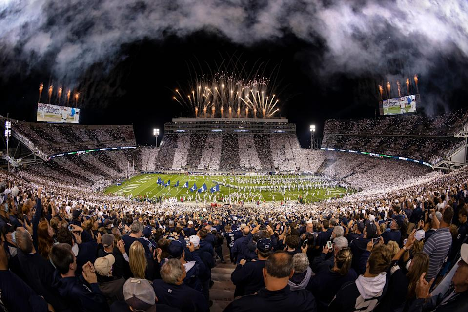 STATE COLLEGE, PA - OCTOBER 02: A general view of fireworks before the Stripe Out game between the Penn State Nittany Lions and the Indiana Hoosiers at Beaver Stadium on October 2, 2021 in State College, Pennsylvania. (Photo by Scott Taetsch/Getty Images)