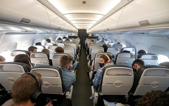 On board the BA500 from London to Lisbon - Geoff Pugh for The Telegraph