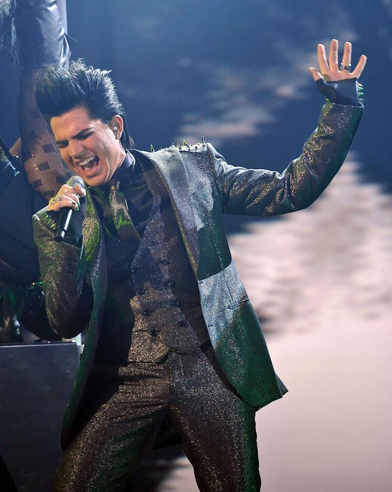 Adam Lambert performs at the 2009 American Music Awards at Nokia Theatre L.A. Live on November 22, 2009 in Los Angeles, California.