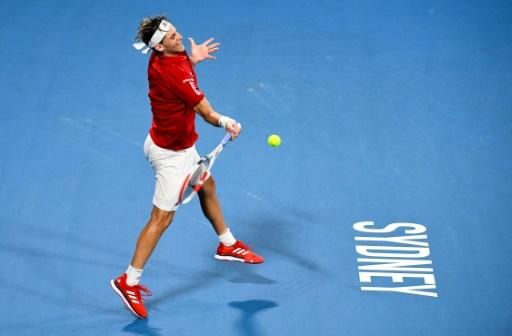 Dominic Thiem of Austria on his way to victory against Diego Schwartzman of Argentina at the ATP Cup in Sydney