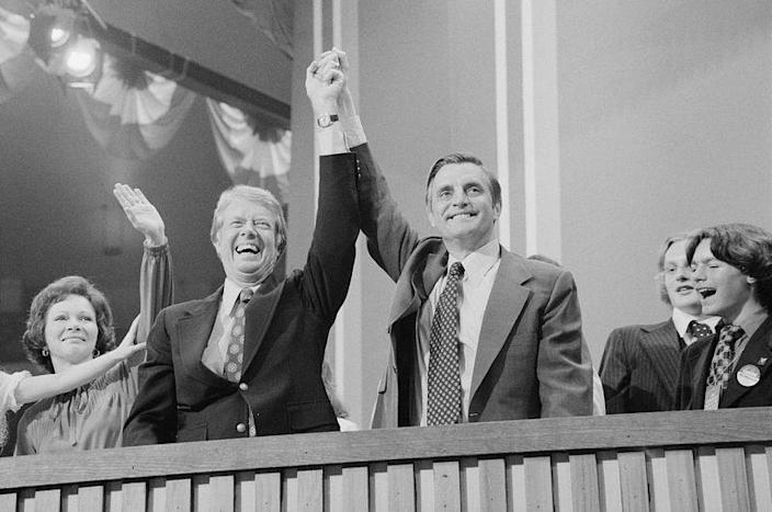 FILE PHOTO: Jimmy Carter and Walter Mondale at the Democratic National Convention