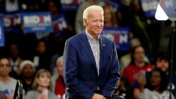 PHOTO: Democratic presidential candidate former Vice President Joe Biden smiles at supporters during a campaign event at Saint Augustine's University in Raleigh, N.C., Feb. 29, 2020. (Gerry Broome/AP Photo)