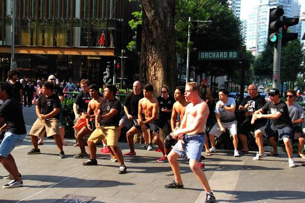 A restaurant from New Zealand is being investigated by police here after staging a haka performance on Orchard Road without a permit. (Photo: Fern & Kiwi Facebook page)