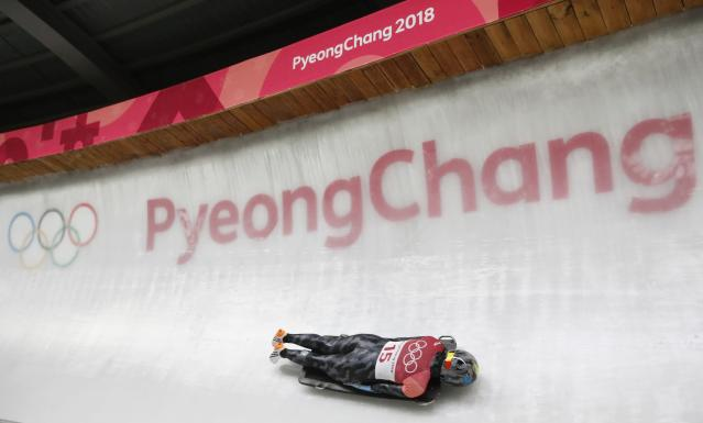 Pyeongchang 2018 Winter Olympics Skeleton - Pyeongchang 2018 Winter Olympics - Women's Finals - Olympic Sliding Centre - Pyeongchang, South Korea - February 17, 2018 - Kim Meylemans of Belgium competes. REUTERS/Arnd Wiegmann