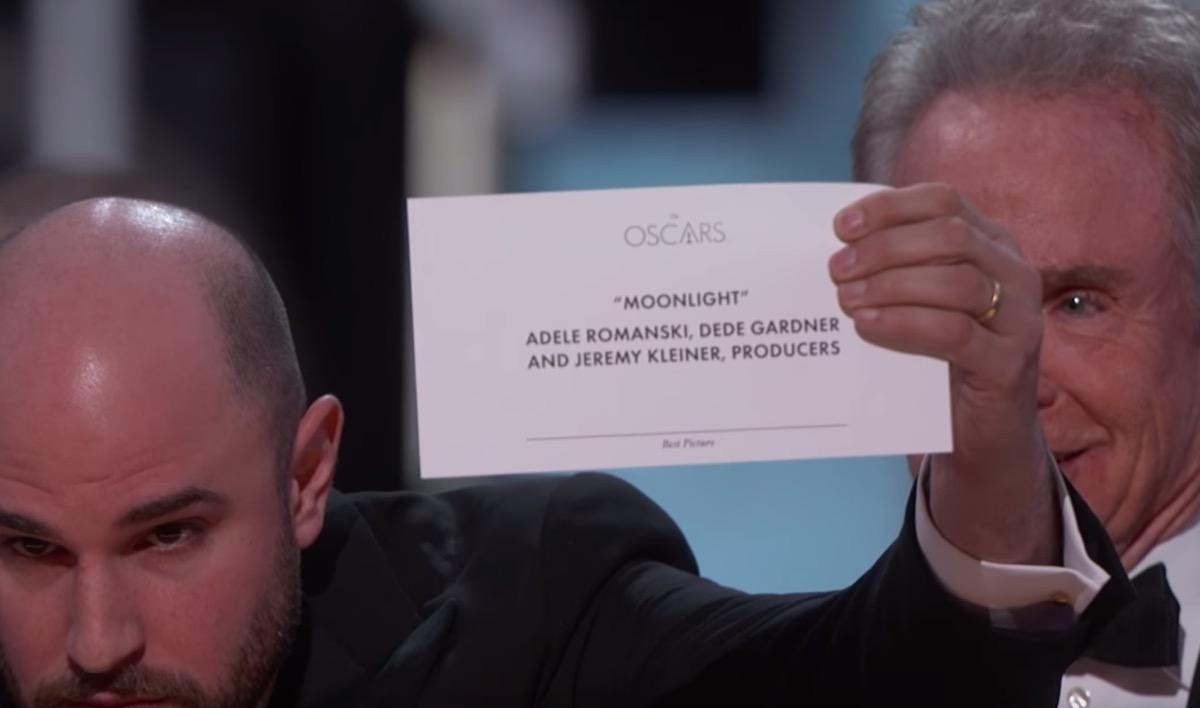 """It's perhaps the <a href=""""https://bestlifeonline.com/memorable-award-show-fails/?utm_source=yahoo-news&utm_medium=feed&utm_campaign=yahoo-feed"""">greatest blunder</a> in Oscar history. (Indeed, the only similar event dates all the way back to 1933, when <strong>Frank Capra</strong> erroneously walked up to the podium to accept an award that was meant for <strong>Frank Lloyd</strong>.) But the final category of the 89th Academy Awards sent the entire night into a tailspin. Here's what happened.  Both<em>La La Land</em> and<em>Moonlight</em>—two commercially successful critical darlings—were nominated for Best Picture. <strong>Warren Beatty</strong> and <strong>Faye Dunaway</strong> were presenting the award for the category. But before they went on stage, Beatty was handed the wrong envelope and was noticeably confused when he pulled out a card that read """"Emma Stone, <em>La La Land</em>.""""In retrospect, it was clearly meant for the Best Actress category—which<strong>Emma Stone</strong> had indeed won—but in a moment of confusion, Dunaway <a href=""""https://www.youtube.com/watch?v=GCQn_FkFElI"""" target=""""_blank"""">declared<em>La La</em><em>Land</em>the winner</a>.  As it turned out, <em>La La Land</em> didn't actually win Best Picture. In the middle of accepting the award,<em>La La Land</em>producer <strong>Jordan Horowitz</strong>told the audience, """"There's been a mistake. <em>Moonlight</em>, you guys won Best Picture,"""" and held up the correct card as proof. """"This is not a joke."""" It sure wasn't."""
