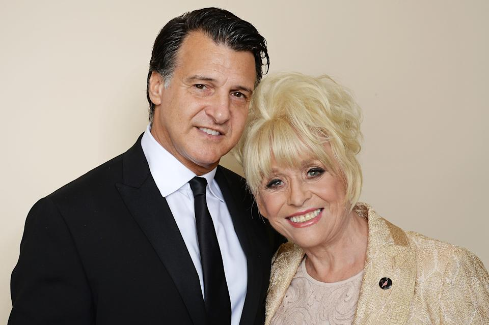 LONDON, ENGLAND - OCTOBER 15:  Barbara Windsor (R) and Scott Mitchell attend the Amy Winehouse Foundation Gala at The Savoy Hotel on October 15, 2015 in London, England.  (Photo by Dave J Hogan/Getty Images)