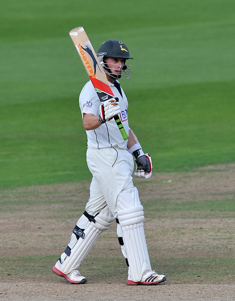 Norringhamshire's Steven Mullaney celebrates reaching his half century during the LV= County Championship, Division One match at Trent Bridge, Nottingham.