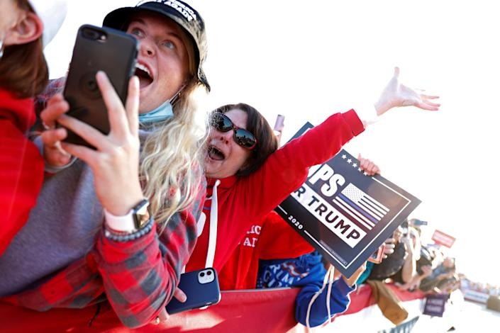 Supporters at the Trump rally in Bemidji, Minn. (Tom Brenner/Reuters)