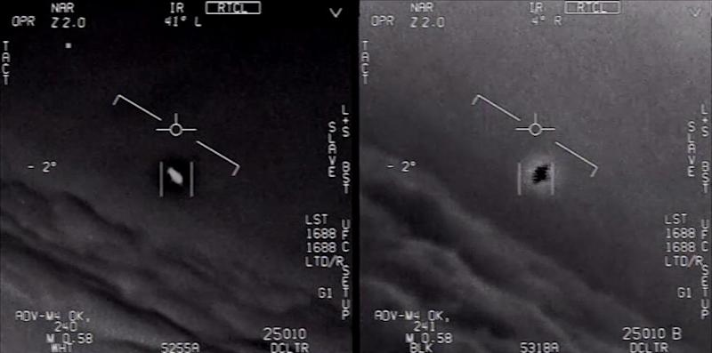 Stills from a Department of Defense video footage of a mysterious object intercepted by USN F/A-18 Super Hornet in 2004. (Photo: Dept. of Defense)