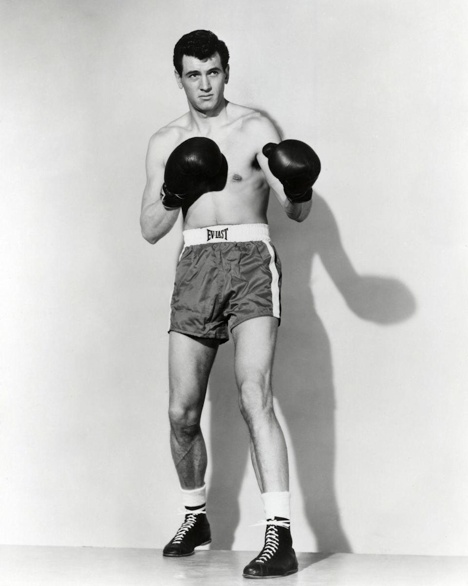 <p>This photograph was a promotional shot for Joseph Pevney's film, <em>Iron Man</em>. Hudson played boxer Tommy 'Speed' O'Keefe (a.k.a. Kosco) in the movie. <br></p>