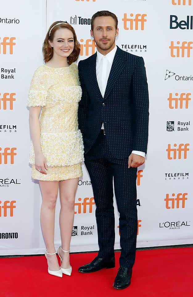 <p>Stone poses with co-star Ryan Gosling at the Sept. 12 premiere at the Toronto Film Festival — where 'La La Land' would go on to win the People's Choice Award. (Photo: Taylor Hill/FilmMagic) </p>