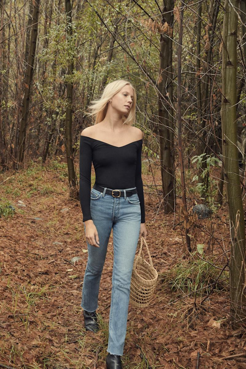 """Brooke High Straight Jean in aegean, <a href=""""https://www.thereformation.com/refjeans"""" target=""""_blank"""">$128 at Reformation</a>. (Reformation)"""