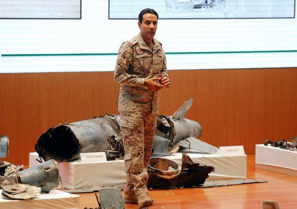 PHOTO: Saudi military spokesman Col. Turki al-Malki displays what he describes as an Iranian cruise missile and drones used in an attack that targeted the heart of Saudi Arabia's oil industry, during a press conference in Riyadh, Sept. 18, 2019. (Amr Nabil/AP)