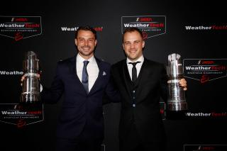 <em>Earl Bamber left) and Laurens Vanthoor celebrated their GTLM championship in the No. 912 at the IMSA awards ceremony last year (IMSA).</em>