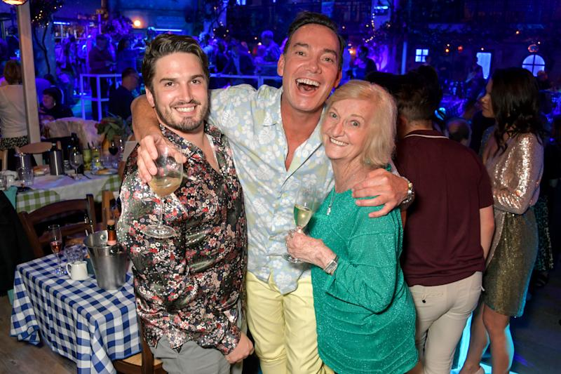 Jonathan Myring, Craig Revel Horwood and Beverley June Horwood attend the opening night of MAMMA MIA! The Party at The O2 on September 19, 2019 in London, England. (Photo by David M. Benett/Dave Benett/Getty Images for Mamma Mia)
