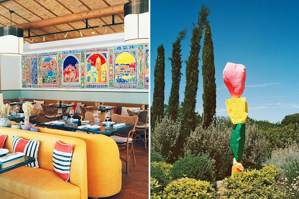 A colorful dining room and outdoor sculpture at the Hotel Lou Pinet in St Tropez, France