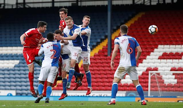 Soccer Football - FA Cup Second Round - Blackburn Rovers vs Crewe Alexandra - Ewood Park, Blackburn, Britain - December 3, 2017 Eddie Nolan scores Crewe's second goal Action Images/Carl Recine