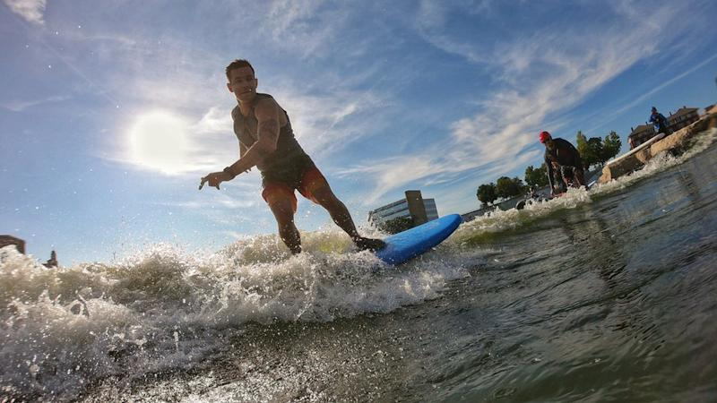 Jake Brown shredding a wave on the Great Miami River in Ohio
