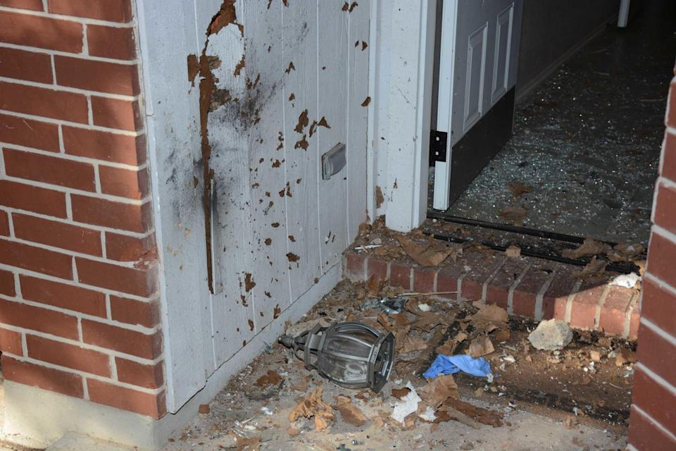 Anthony Stephan House, a 39-year-old father of an 8-year-old daughter, was killed when a package he picked up on his front porch exploded. The foyer near his front door was in shambles.  / Credit: FBI