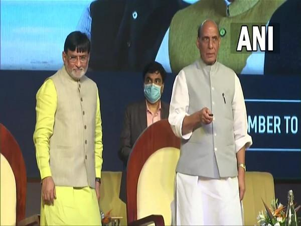 Union Minister Rajnath Singh at the event (right) (Photo/ANI)