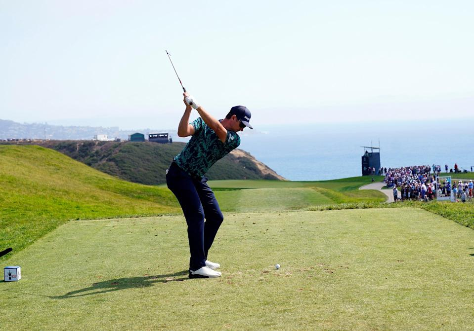 A golfer plays his shot from the third tee during the 2021 U.S. Open at Torrey Pines Golf Course.