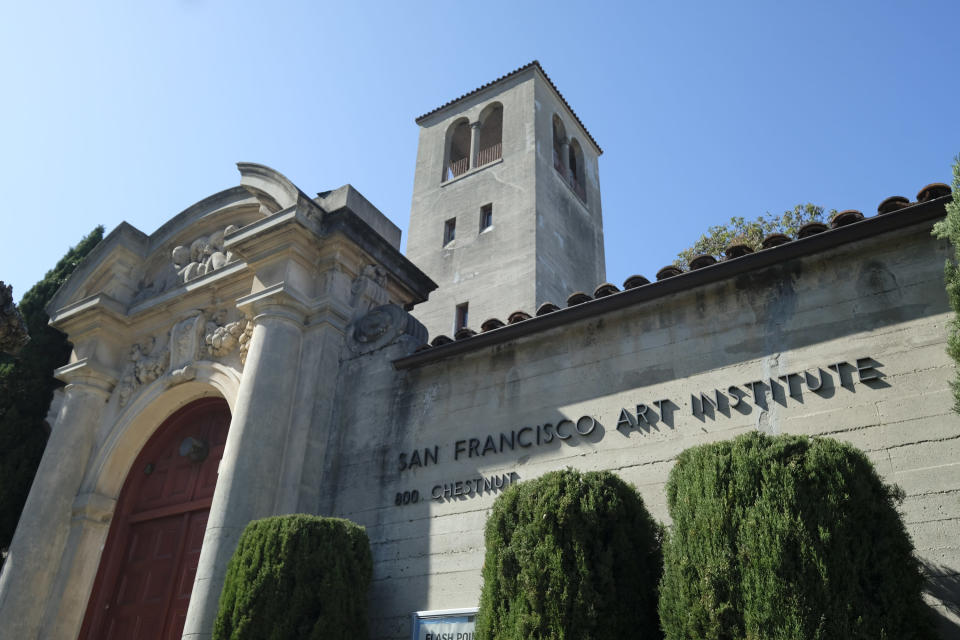 "This Monday, April 13, 2020, photo shows the San Francisco Art Institute. The institute, the oldest art college west of the Mississippi, announced in March it will not accept students for the fall, encouraged students not graduating this year to transfer and warned of staff layoffs. Merger talks with other institutions hit an impasse ""in no small measure due to the unanticipated hardships and uncertainty stemming from the coronavirus pandemic, President Gordon Knox said. (AP Photo/Eric Risberg)"