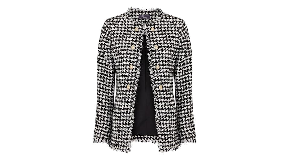 Tweed Straight Dogtooth Longline Blazer