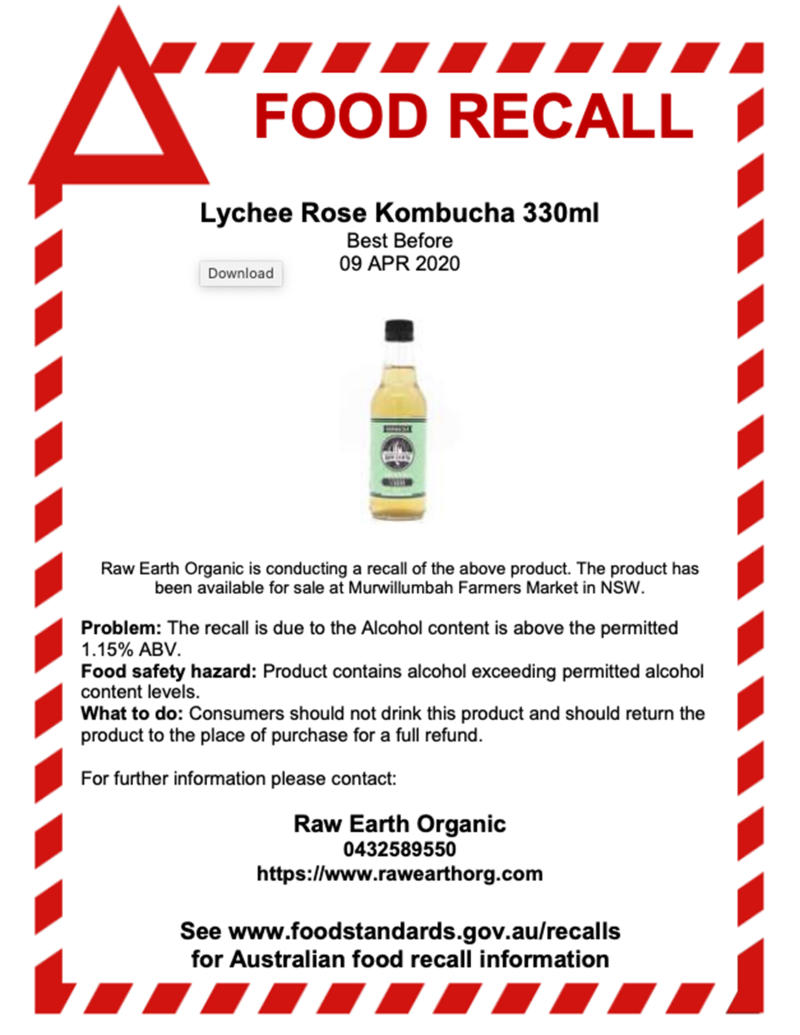 Raw Earth Organic Kombucha issued a food recall of its Lychee Rose flavour. Pictured is the food recall notice.