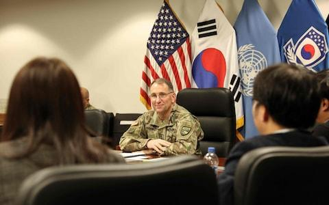 "Seoul's decision to terminate a key military intelligence sharing pact with Japan risks sending the ""wrong message"" to adversaries, said General Robert B. Abrams, commander of United States Forces Korea - Credit: STAFF SGT. MARCUS BUTLER/UNITED STATES FORCES KOREA/AFP via Getty Images"