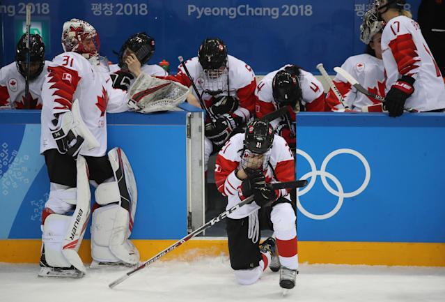<p>Canada loses to United States in the Olympic women's hockey gold medal game at the Gangneung Hockey Centre in Gangneung in Pyeongchang in South Korea. February 22, 2018. (Steve Russell/Toronto Star via Getty Images) </p>