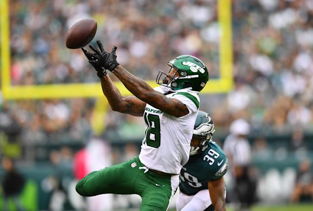 New York Jets wide receiver Demaryius Thomas wasn't happy with how he was treated by the Patriots. (Getty Images)