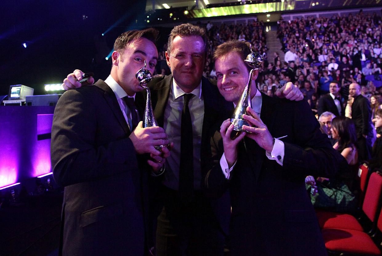 Anthony McPartlin (left), Piers Morgan (centre) and Declan Donnelly during the National Television Awards 2010, at the 02 Arena, London.