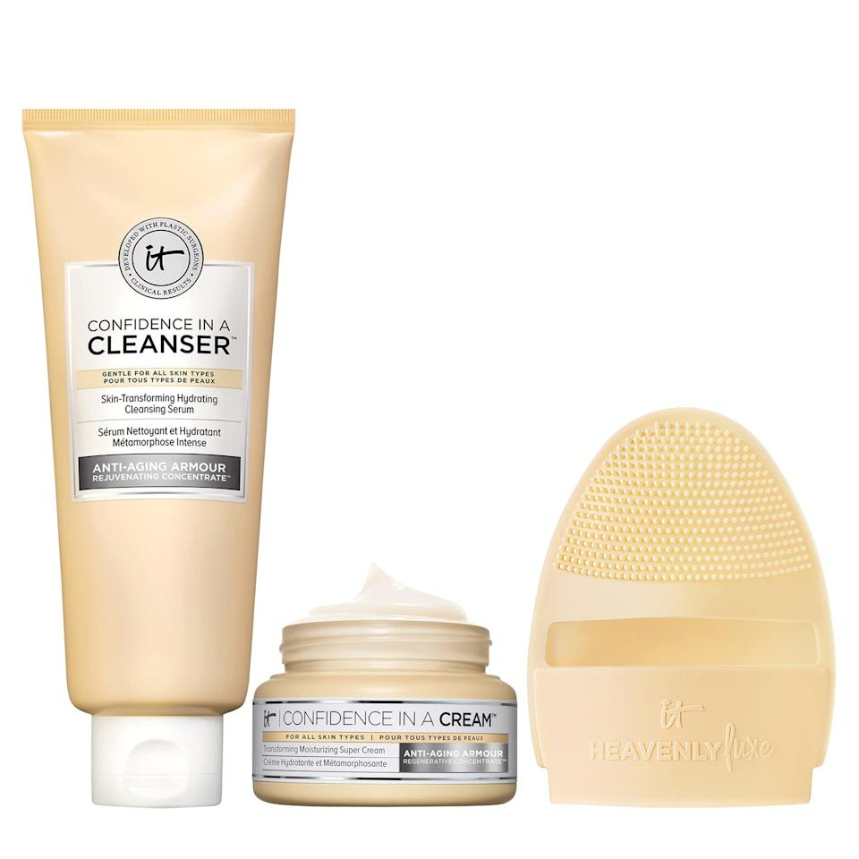 """<h2>It Cosmetics</h2><br>Get 20% off bundles<br><br><strong>It Cosmetics</strong> Cleanse & Hydrate Skincare Set, $, available at <a href=""""https://amzn.to/35m1hK0"""" rel=""""nofollow noopener"""" target=""""_blank"""" data-ylk=""""slk:Amazon"""" class=""""link rapid-noclick-resp"""">Amazon</a>"""