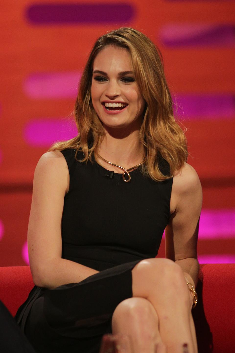 Lily James during the filming of the Graham Norton Show at the London Studios in London, to be broadcast on BBC1 tomorrow.