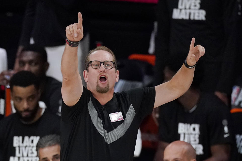 Toronto Raptors' head coach Nick Nurse directs his team during the first half of an NBA conference semifinal playoff basketball game with the Boston Celtics Monday, Sept. 7, 2020, in Lake Buena Vista, Fla. (AP Photo/Mark J. Terrill)