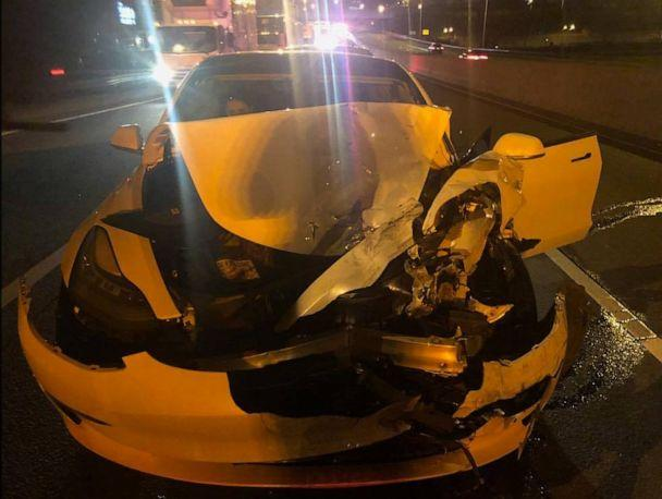PHOTO: Connecticut State Police reported a Tesla crashed into a disabled vehicle on the side of the road while on 'auto-pilot.' (Connecticut State Police)