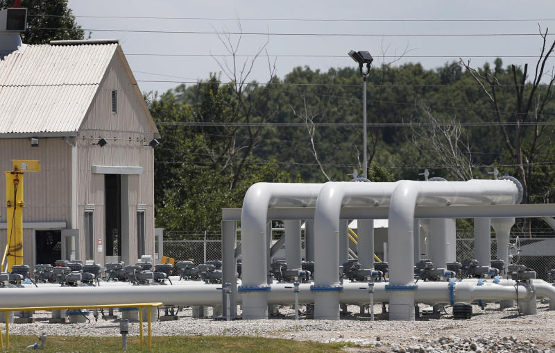 Pipe extends above ground at the Enbridge Key Terminal near Salisbury, Mo., Tuesday, July 16, 2013. The company hopes to begin construction of the Flanagan South pipeline in early August. (AP Photo/Orlin Wagner)
