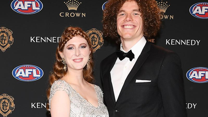 Ben Brown and Hester Brown are pictured at the 2019 Brownlow Medal.