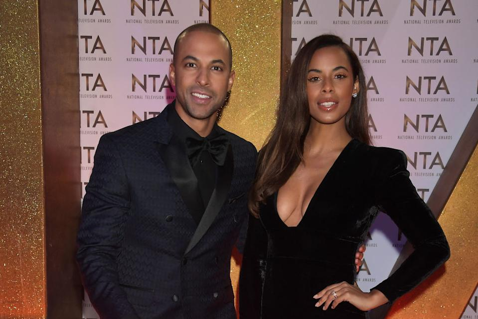 Rochelle Humes has revealed she is suffering from evening sickness during her pregnancy, pictured here with husband Marvin Humes at the National TV Awards January 2020. (Getty Images)