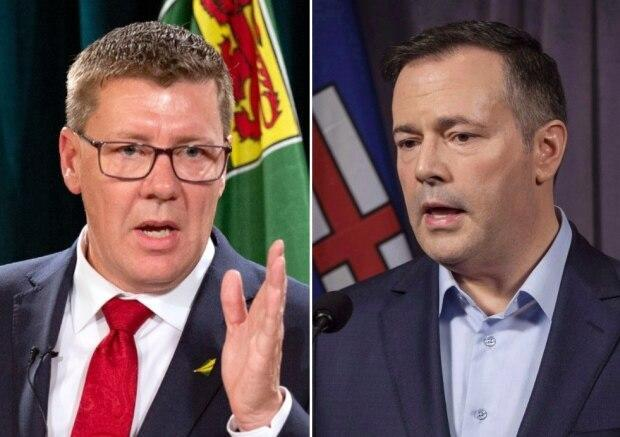 Saskatchewan Premier Scott Moe, left, and Alberta Premier Jason Kenney have both seen their provincial health-care systems pushed to the brink by the pandemic's fourth wave. But only Kenney is facing a leadership review.  (Bryan Eneas/CBC; Jeff McIntosh/The Canadian Press - image credit)