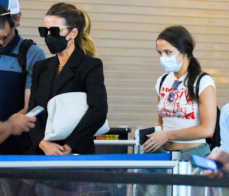 Kate Beckinsale with daughter Lily Sheen and Lily's boyfriend David Schechter are spotted arriving at JFK Airport in New York City.