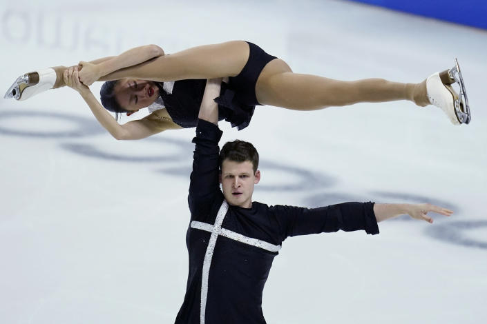 Audrey Lu and Misha Mitrofanov perform during the pairs short program at the U.S. Figure Skating Championships, Thursday, Jan. 14, 2021, in Las Vegas. (AP Photo/John Locher)