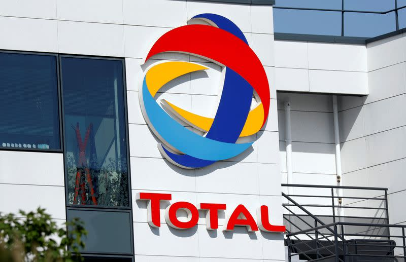 The logo of Total is pictured at the company's headquarters in Rueil-Malmaison near Paris