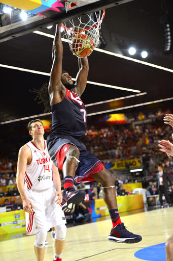 BILBAO, SPAIN - AUGUST 31: Kenneth Faried #7 of the USA Basketball Men's National Team dunks the ball during the game against the Turkey Basketball Men's National Team during the 2014 FIBA World Cup at Bizkaia Arena in Bilbao Exhibition Centre on August 31, 2014 in Bilbao, Spain. (Photo by David Dow/NBAE via Getty Images)