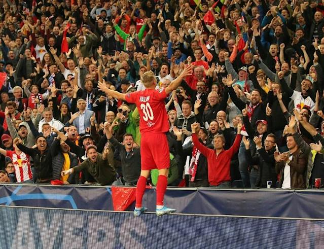Erling Braut Haaland is already a fan favourite at Salzburg after scoring 17 goals in 10 matches (AFP Photo/KRUGFOTO)