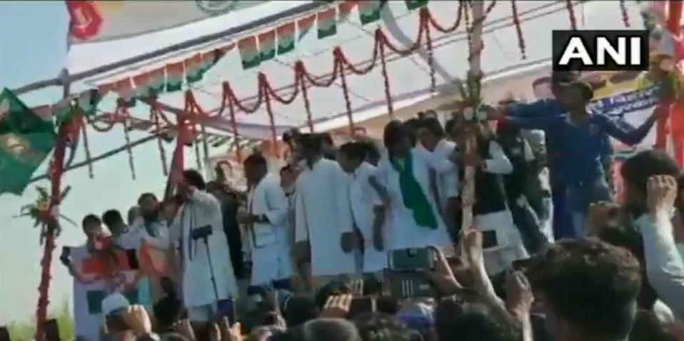 The stage abruptly collapsed during Congress party's public rally in West Champaran, Bihar on Thursday.
